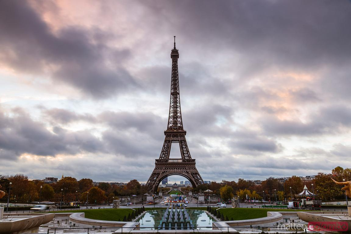 Eiffel tower at sunrise from Trocadero, Paris, France