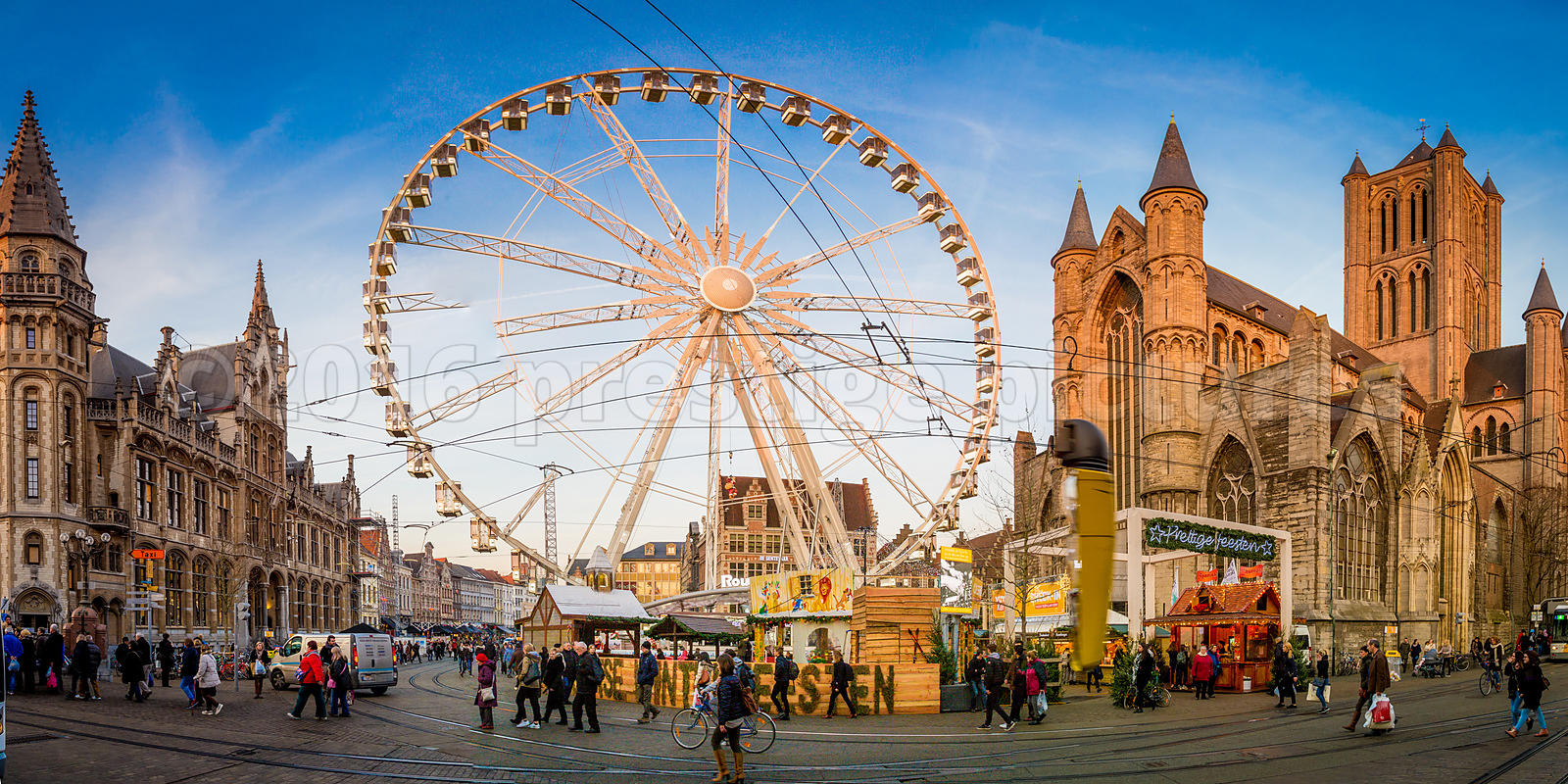 Giant Ferris Wheel and St Bavo's Cathedral by the Ghent Christmas Market