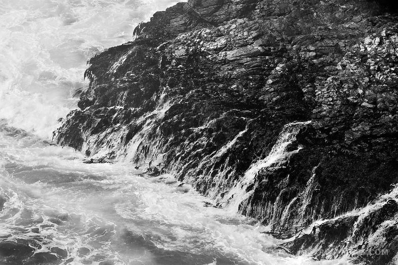 WAVES THE ROCKY SHORE BIG SUR CALIFORNIA BLACK AND WHITE