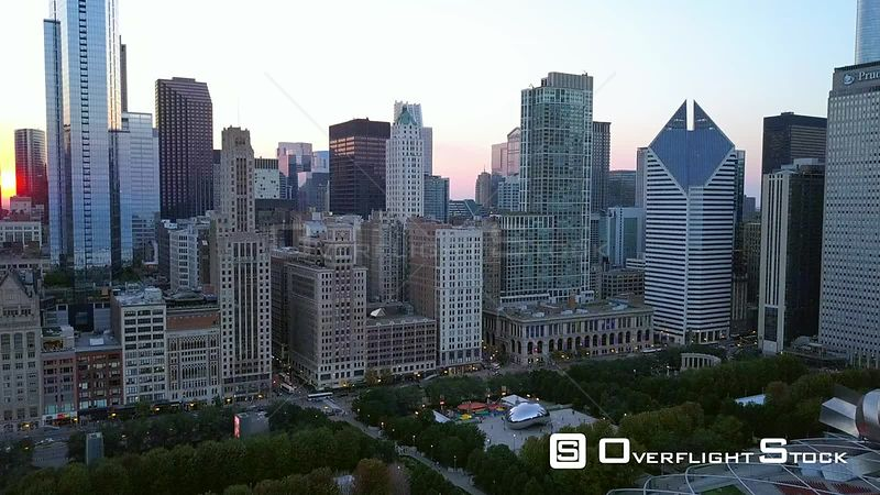 Millenium Park and Cloud Gate Drone Video Downtown Chicago Illinois USA