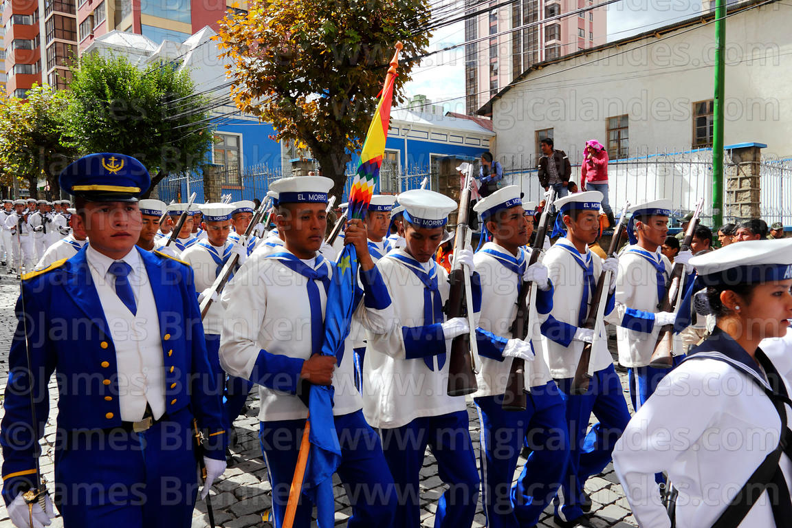Male Navy cadets during street parades for Dia del Mar / Day of the Sea , La Paz , Bolivia