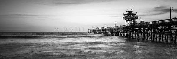 San Clemente Pier Black and White Panorama