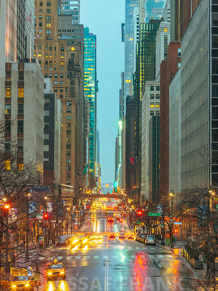 Evening view of streets of Manhattan, New York City