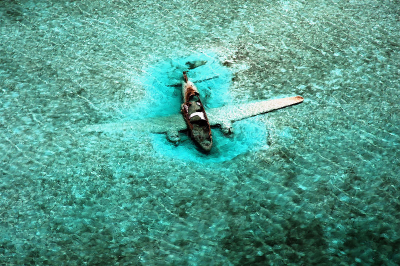 DC-3 Aircraft wreck. Drug running aircraft that crashed in shallow water. Normans Cay, Exhumas, Bahamas. May 2005
