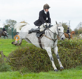 Dominic Gwyn-Jones jumping a hedge near the meet in Long Clawson