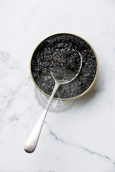 Sturgeon black caviar in can and spoon on white marble background