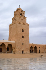 A three tiered minaret at the northern end of the courtyard of the Grand Mosque. The bottom tier was built in 728 AD. Kairoua...
