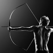 Male archer drawing long bow