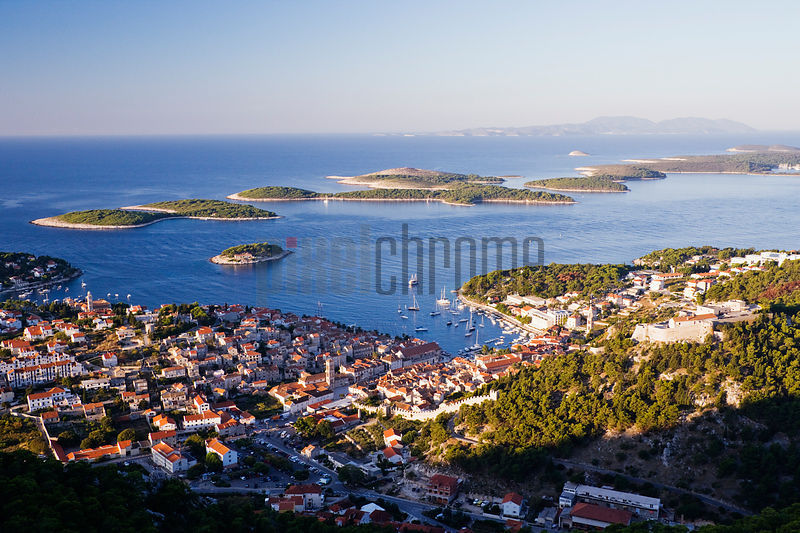 Elevated view of Hvar Town and Harbour at Dawn, Hvar Island, Croatia