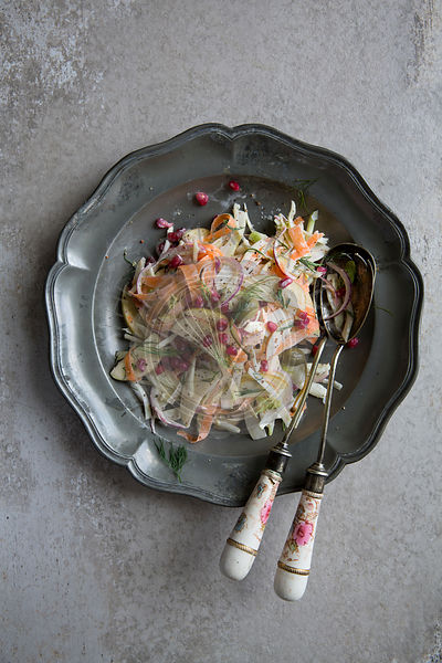 Fennel coleslaw on a silver plate