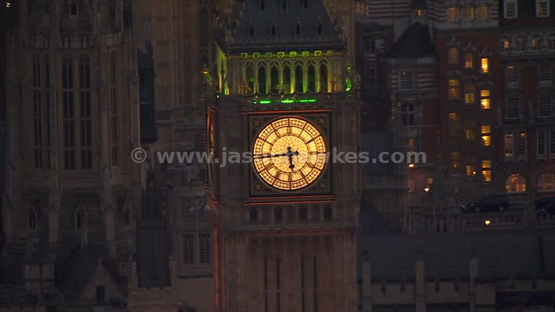 Aerial footage of Westminster at night, London