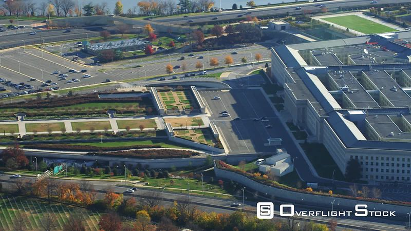 Close View of the Pentagon, Widening to Reveal Columbia Island Marina and Potomac River.
