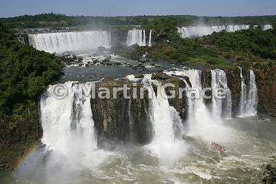 Iguassu (Iguazu) Falls from the Brazilian side, with tourist boat