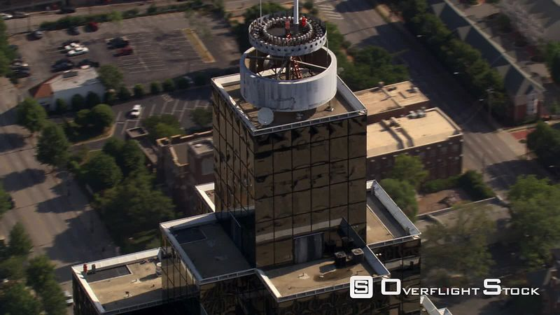 Partial orbit of skyscraper rooftop