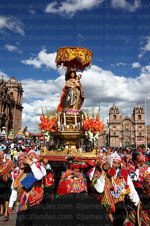 Devotees of Virgen de Natividad de Almudena during parades for Corpus Christi festival , Plaza de Armas , Cusco , Peru
