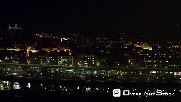 Flying Along the Potomac Toward Key Bridge at Night, Past Georgetown  National Cathedral on Skyline at Beginning of Clip.