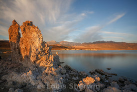 First sunlight strikes a tufa pinnacle