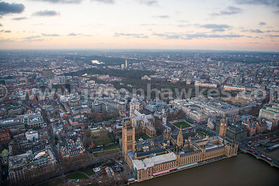Aerial view of Westminster, London