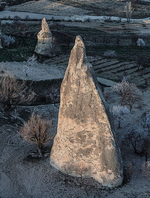 Aerial view of large rock formations, Goreme, Cappadocia, Turkey, March.