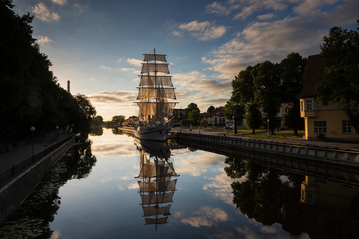 Tall Ship Maritimus Moored on the Danes River