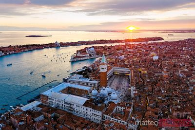 Aerial view of St Mark's square at sunset, Venice, Italy