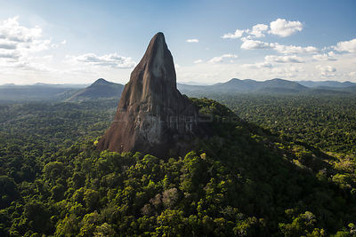 Bottle (Battle) Mountain, a granite outcrop in South Rupununi savanna, Guyana, South America