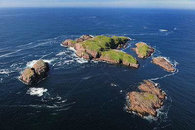 Aerial view of Umfin Island, North of Gola Island, County Donegal, Republic of Ireland, September 2009