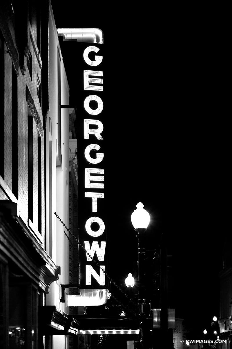 GEORGETOWN NEON SIGN GEORGETOWN EVENING WASHINGTON DC GEORGETOWN BY NIGHT BLACK AND WHITE