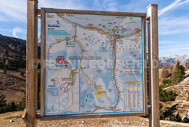 SCHLUDERBACH CARBONIN, ITALY - OCTOBER 26, 2018: a map of Hiking area in the Fanes Sennes Prags Nature Park near Schluderbach...