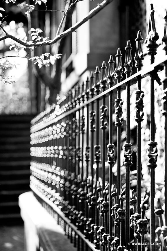 IRON FENCE HISTORIC SAVANNAH GEORGIA BLACK AND WHITE VERTICAL