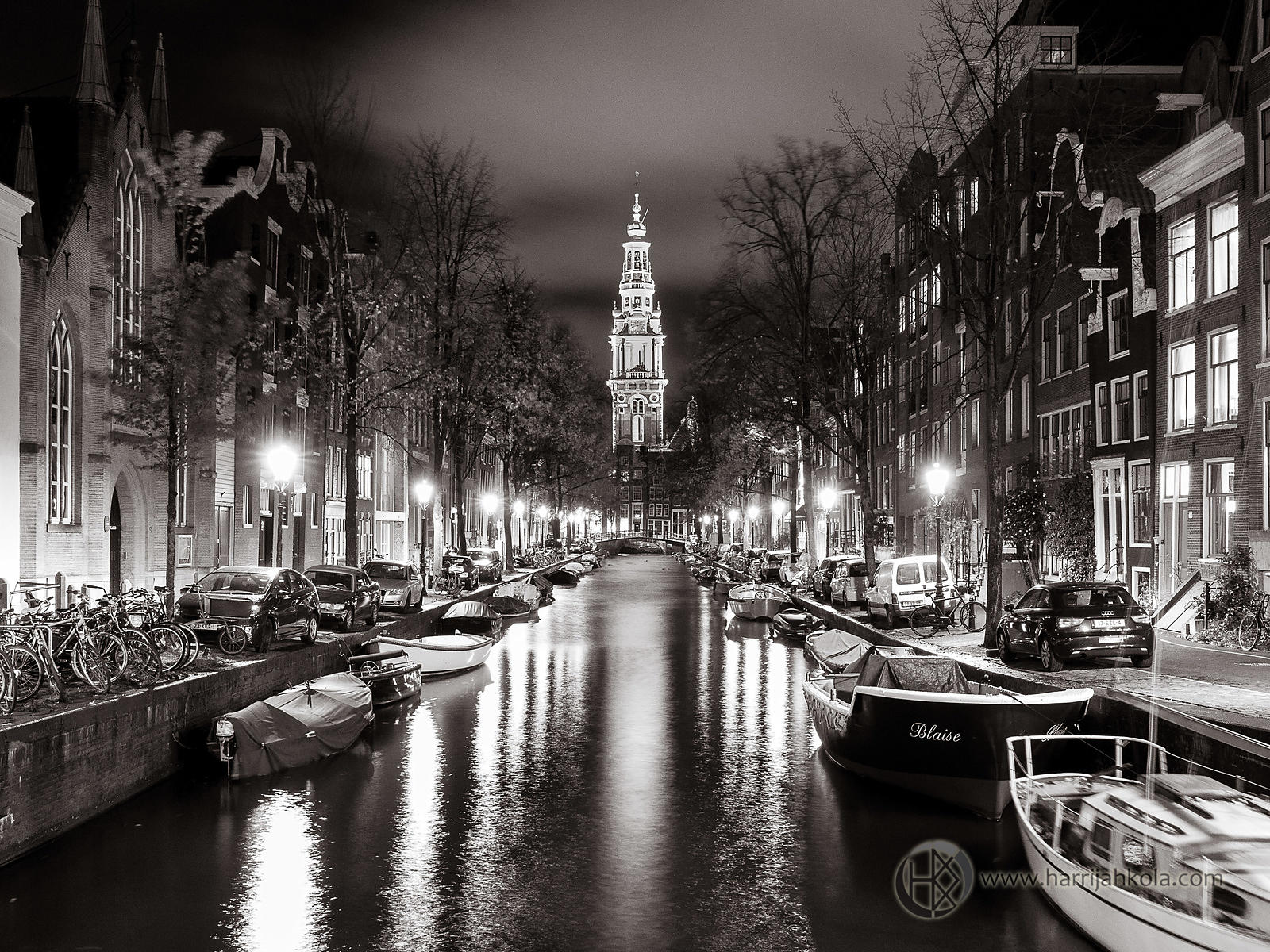 Amsterdam - Netherlands (Zuiderkerk over Groenburgwal at Night II)