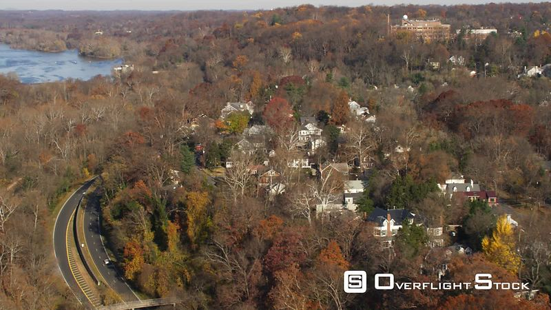Over Clara Barton Parkway and Chesapeake & Ohio Canal National Historic Park toward Snake Island and Little Falls Dam and Pum...