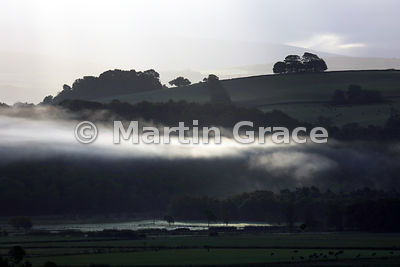 Lyth Valley in early morning mist, October 8, Cumbria, England