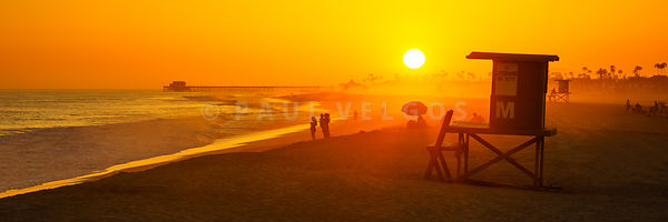 Newport Beach Lifeguard Tower M Sunset Panorama Photo