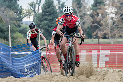Ben Gomez Villafane (CycleSport - Specialized) hits the sandpit on lap one of Sunday's UCI Junior Men's race at CXLA.