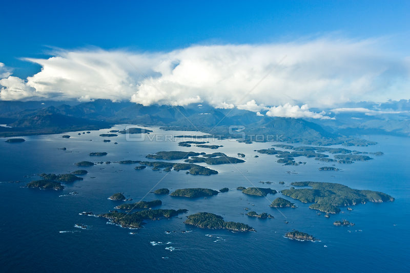 Aerial view of The Broken Group Islands, part of the Pacific Rim National Park, Barkely Sound, Vancouver Island, BC, Canada