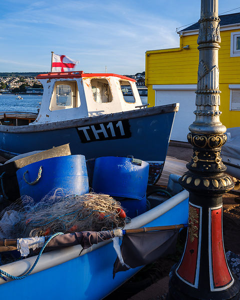 Fishing boat, nets and pots at The Point, Teignmouth, Devon, UK