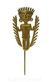 A cast gold pendant from 5th to 10th century from Tolima region of Colombia, figure has feather headdress