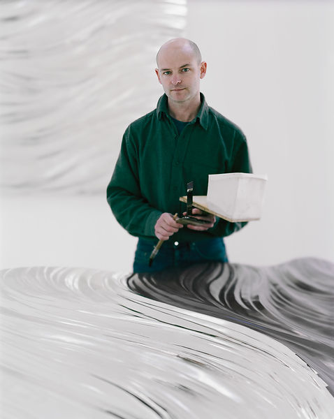 Simon Allen - Sculptor gilding in his studio near Penzance. This image was shot on Large Format film, with camera movements u...