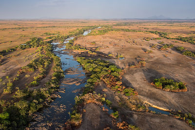 Aerial view of Rupununi river, Rupununi savanna, Guyana, South America
