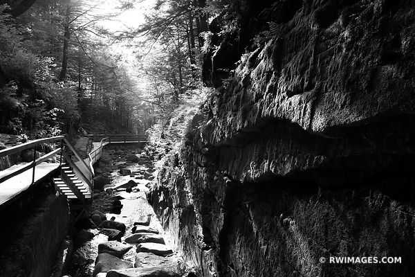 FLUME GORGE FRANCONIA NOTCH STATE PARK NEW HAMPSHIRE BLACK AND WHITE