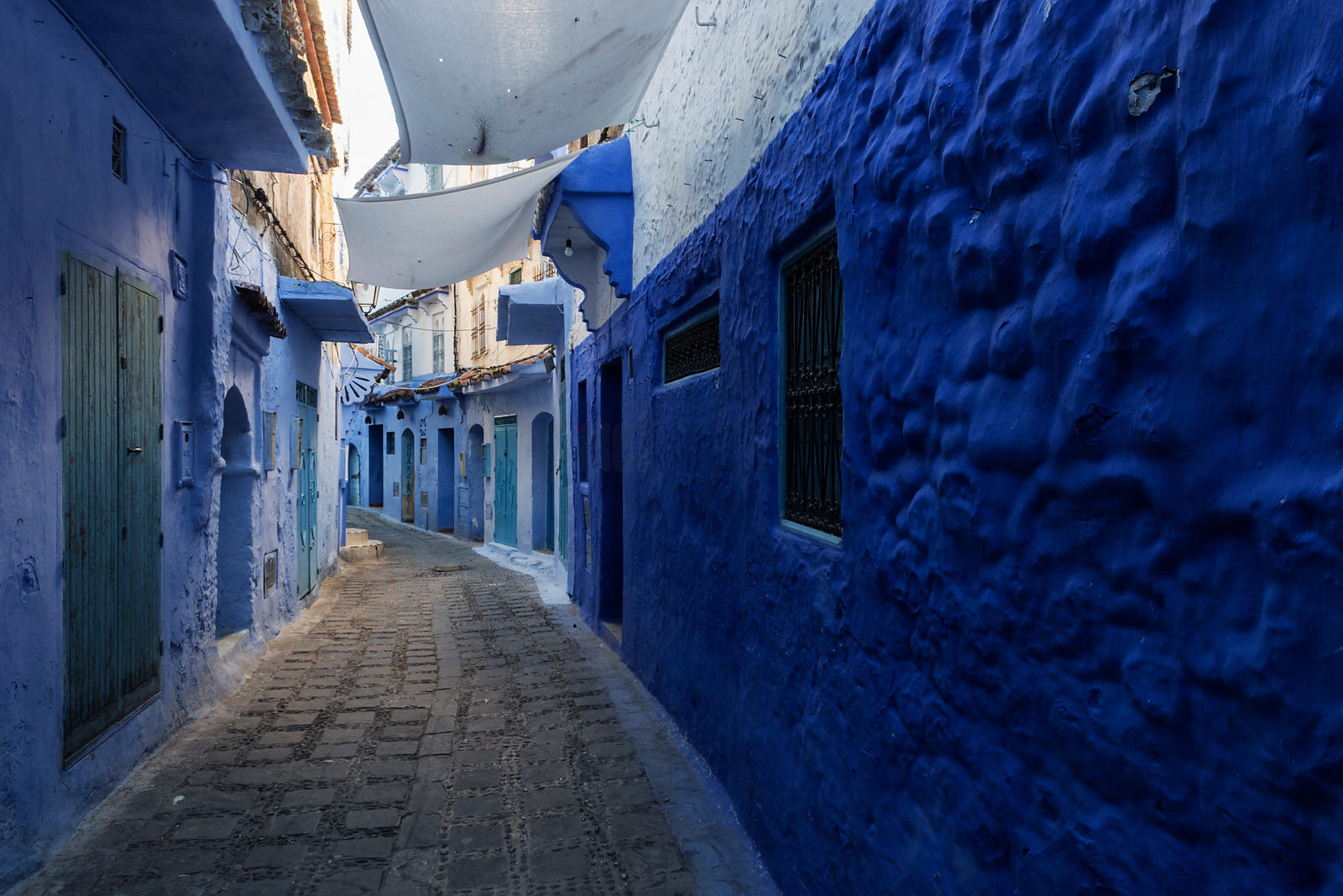 Colourful Street in the Blue City at Dawn