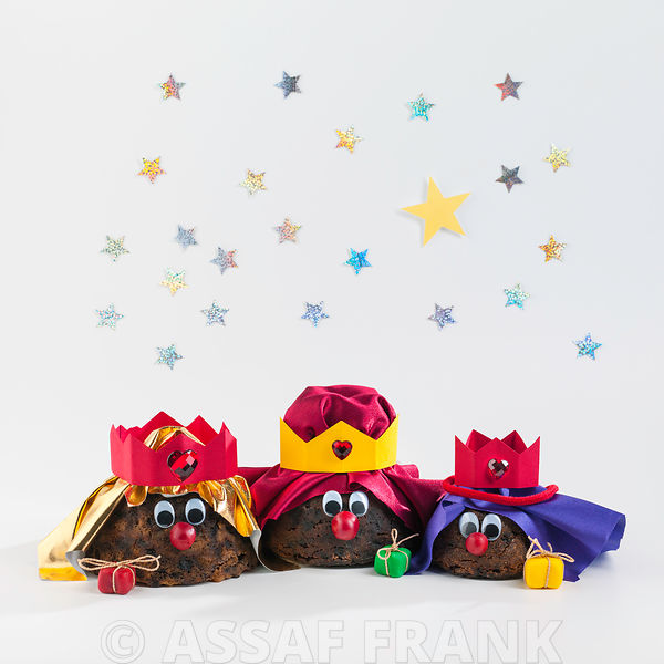 Christmas Puddings - Three kings on white background