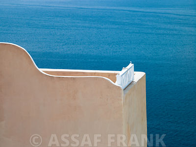Greece,cyclades, Close-up balcony with sea in background