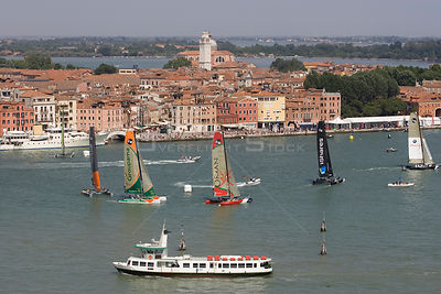 Aerial view of the Extreme 40 fleet racing towards the windward mark with Ecover out in front. iShares Cup regatta, Venice, I...