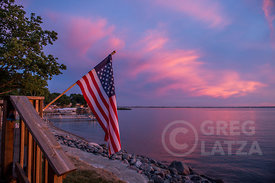 American Flag and Lake