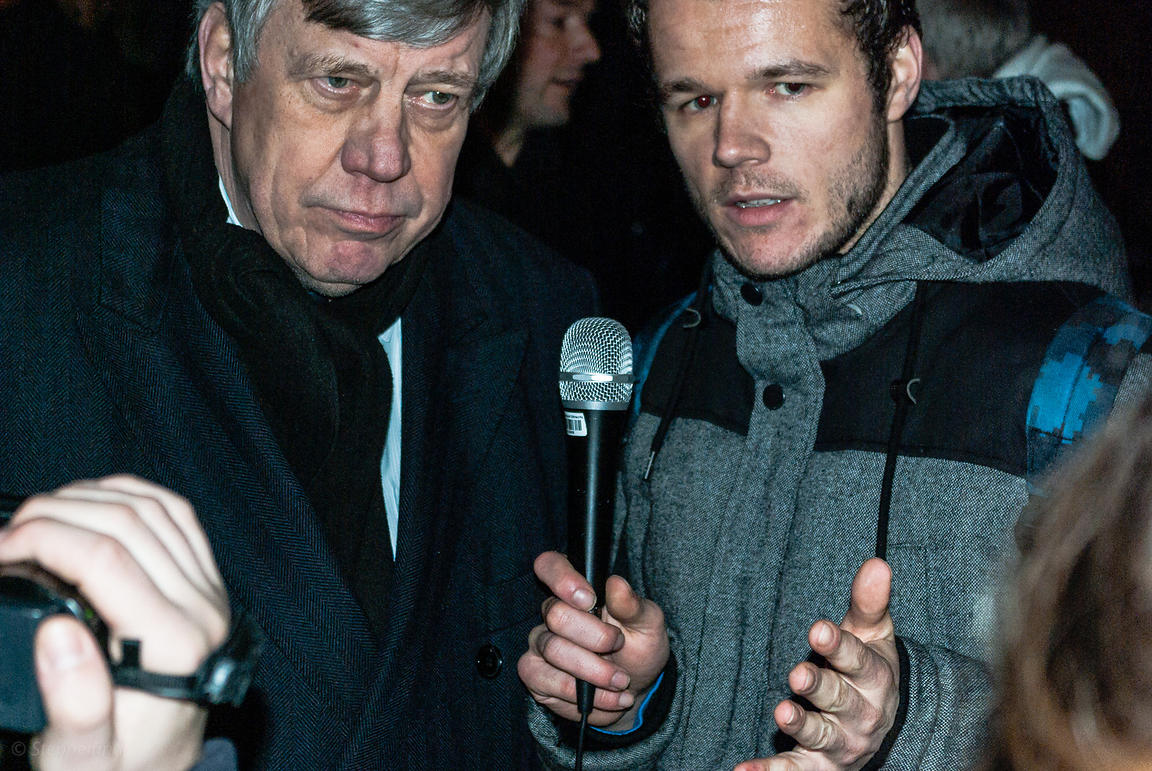 Amsterdam, Netherlands 2015-01-08: Mr. Opstelten, Dutch Minister of Security and Justice till march 2015, talking with journa...