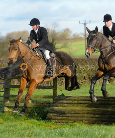 William Bevin jumping a tiger trap - The Quorn Hunt at Woodpecker Farm