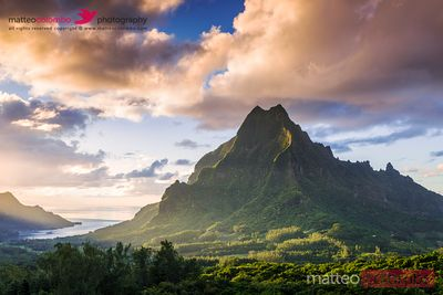 Sunset over Mt Rotui, Moorea, Tahiti, French Polynesia