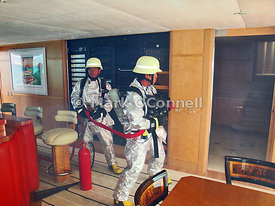 Fire fighting drill aboard Maridome